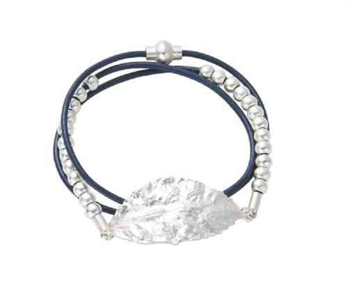 Armband blau Leder mit Blatt