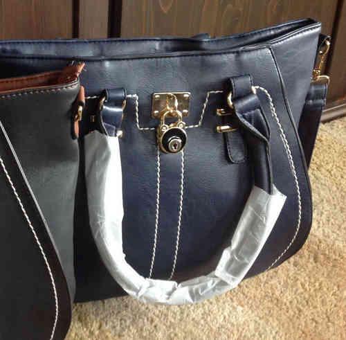 Große blaue Damen Handtasche