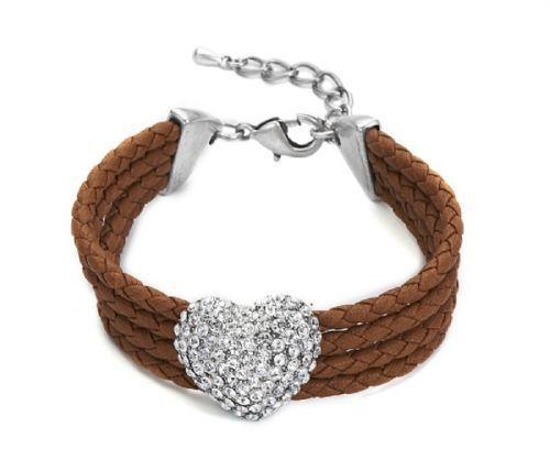 Armband braun Herz