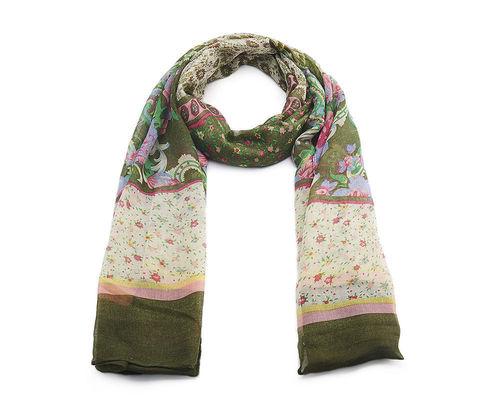 Schal grün Blumen
