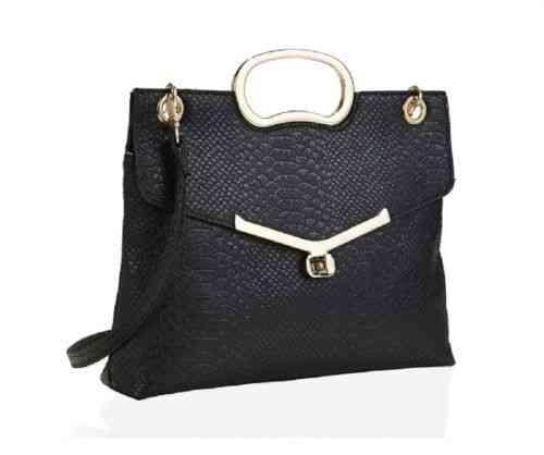 Handtasche schwarz Kroko