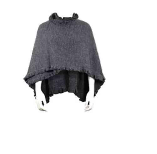 Poncho 98% Alpaka Stola schwarz