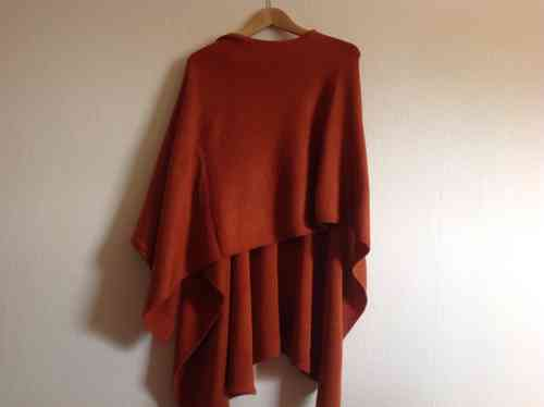 Poncho 98% Alpaka Stola orange