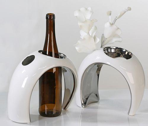 Vase und  Flaschenhalter Keramik weiß