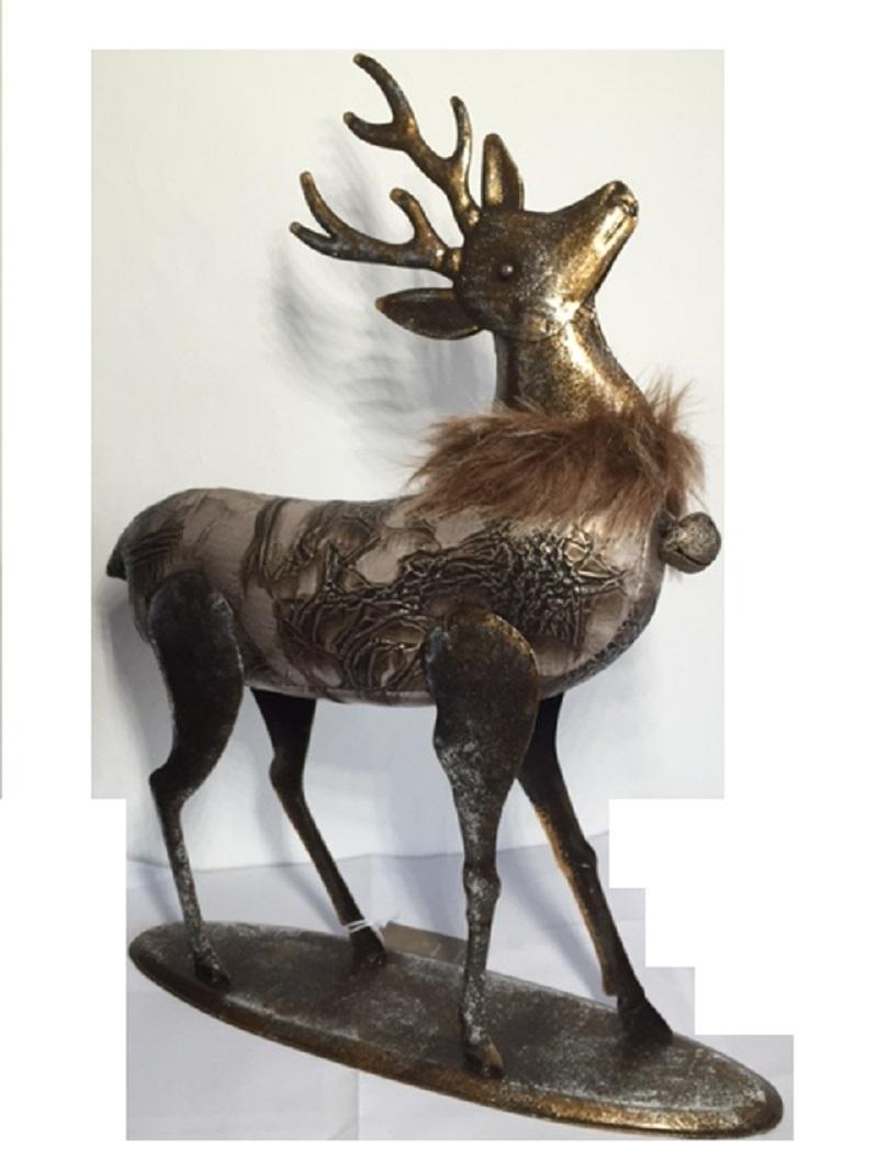 Weihnacht deko hirsch metall leder rentier elch stehend for Weihnachtshirsch deko