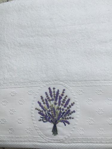Handtuch Lavendel bestickt