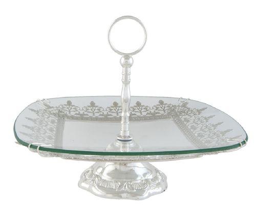 Kuchenplatte glas silberfarben