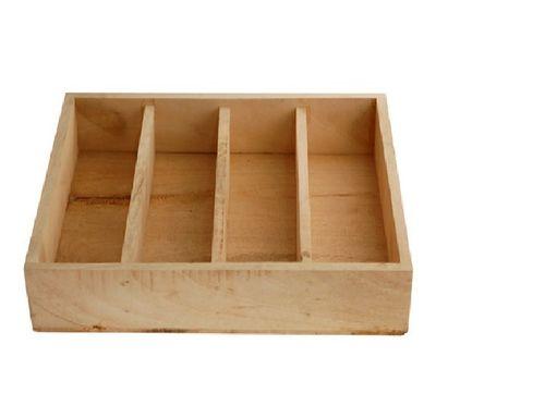 Besteckbox aus Holz 4 Einteilungen