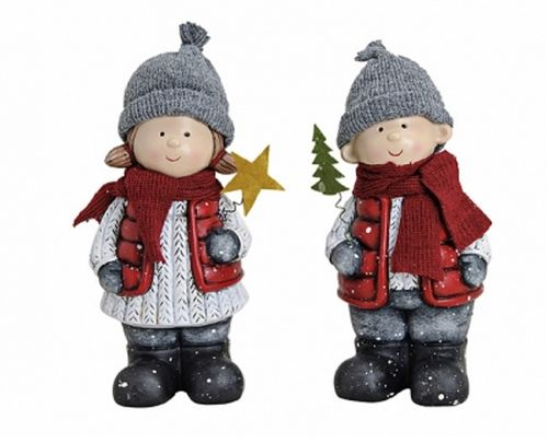 Winterkinder Deko Figur 21 cm