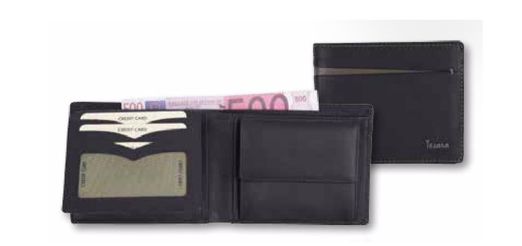 Leder Geldbörse RFID schwarz