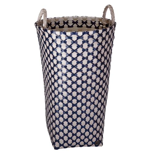 Korb geflochten hoch grau/blau
