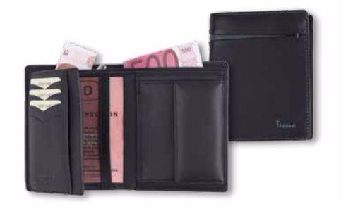 Leder Geldbörse RFID schwarz/taupe