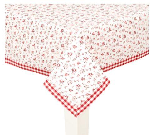 Tischdecke rot Blümchen 150x150