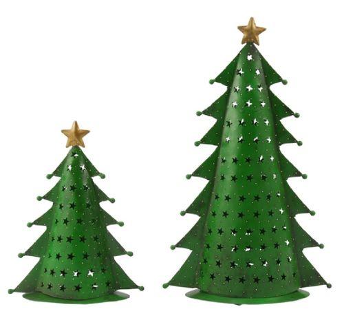 Metall Tannenbaum Teelicht grün