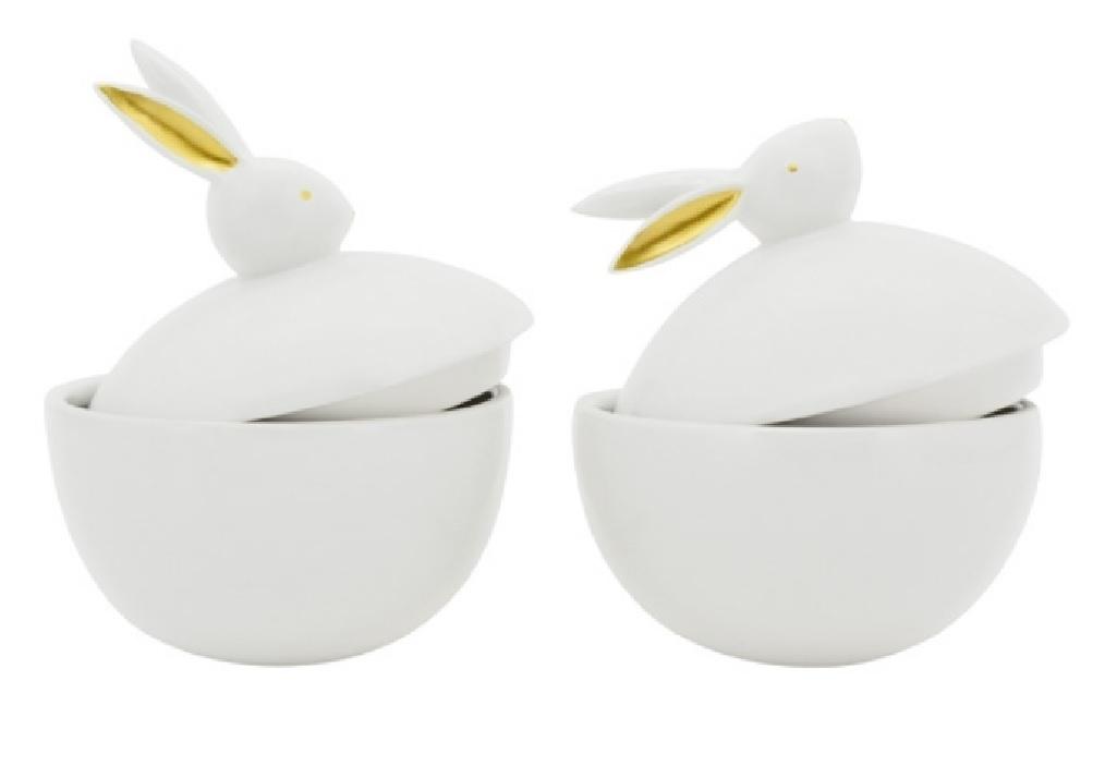 Keramikdose Hase weiß