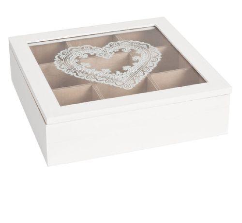 Holz Teebox Herzen