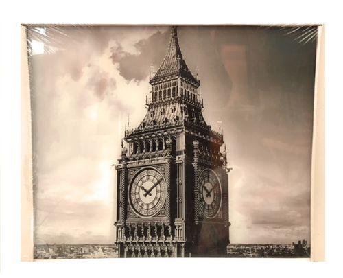 Glasbild Turmuhr 50x50 cm