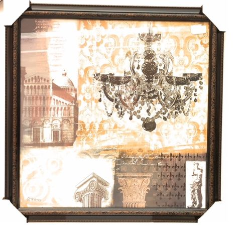 Wandbild schwarz Kronleuchter 80x80 cm