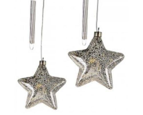 Sterne LED leuchtend silber