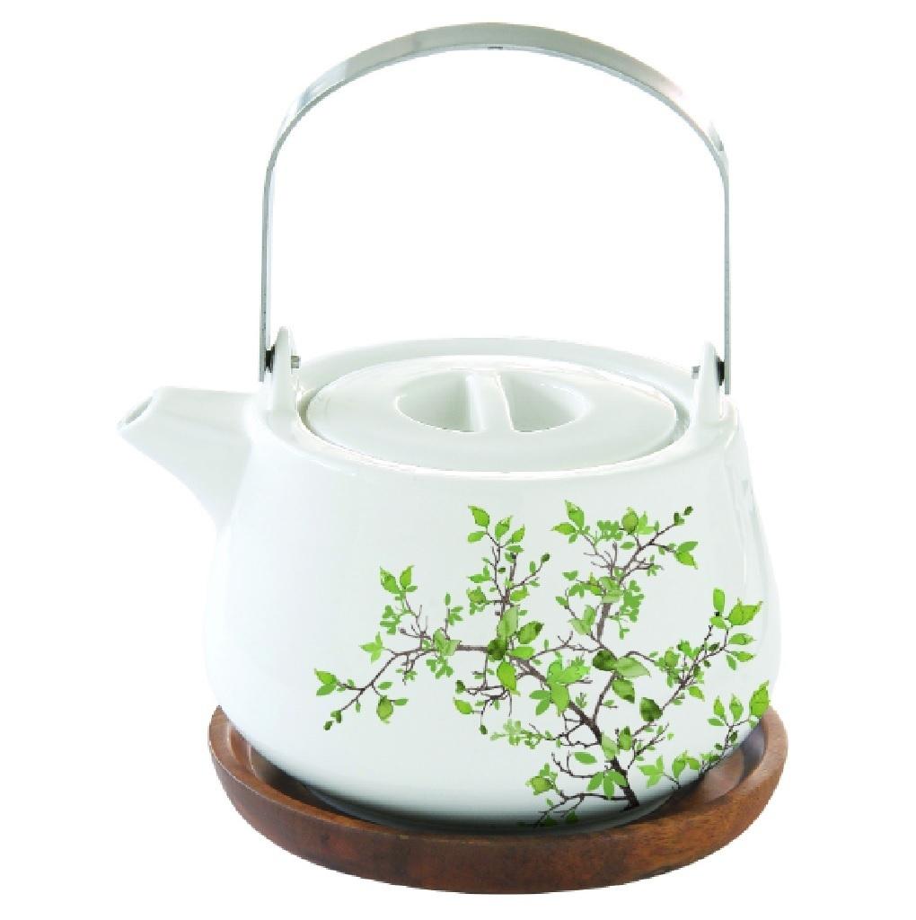 Teekanne grüne Zweige