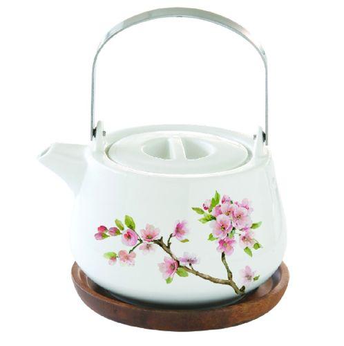 Teekanne rosa Blüten