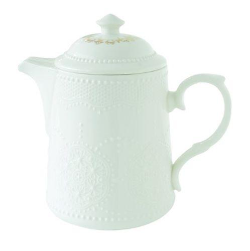 Teekanne weiß gemustert