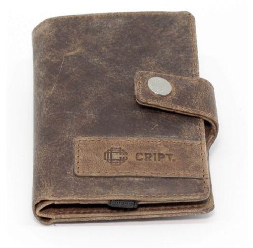 Leder Cript Börse RFID braun