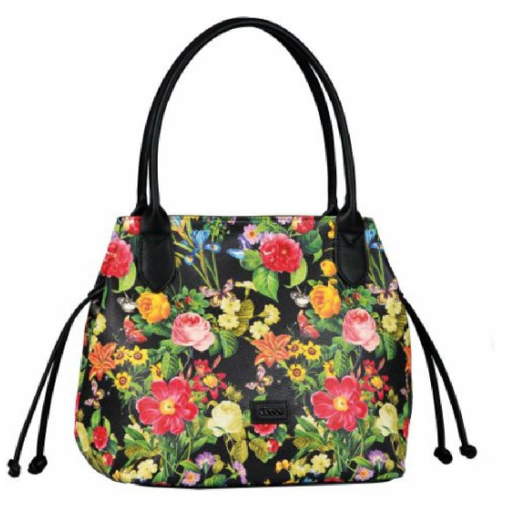 Gabor Shopper flowers black