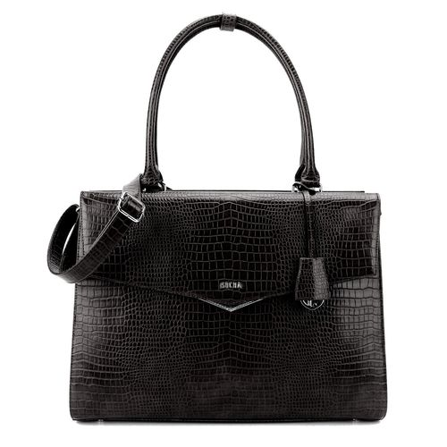 Socha Businessbag Silver Tip Croco Schwarz 15,6""